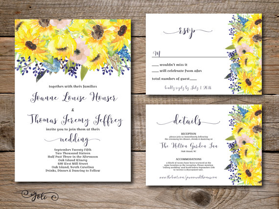 5 sunflower wedding invitations to brighten your day