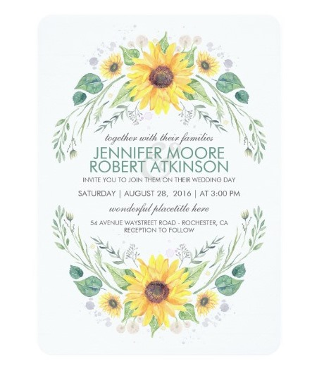 watercolor sunflower invite