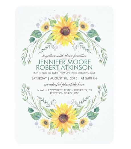 watercolor sunflower invite