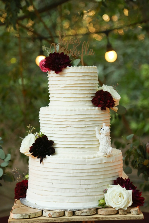 Burgundy and White Wedding Cakes