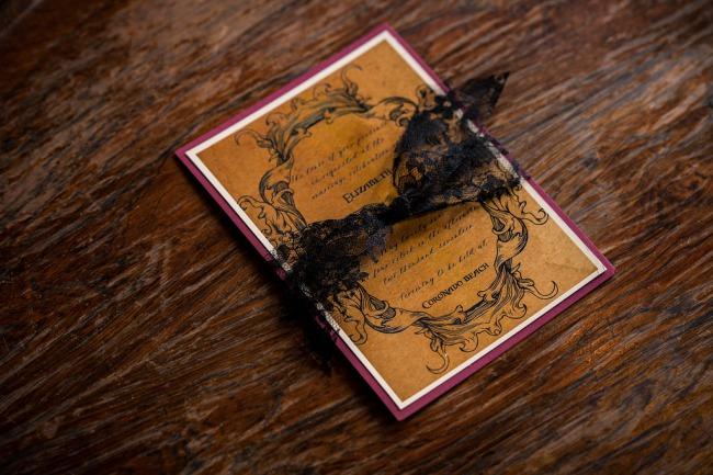 wedding invite with black lace
