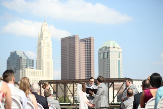 Columbus skyline above wedding