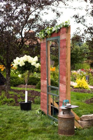 DIY wedding door at ceremony
