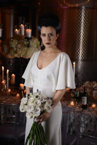 Frankenstein bride with black and white bouquet