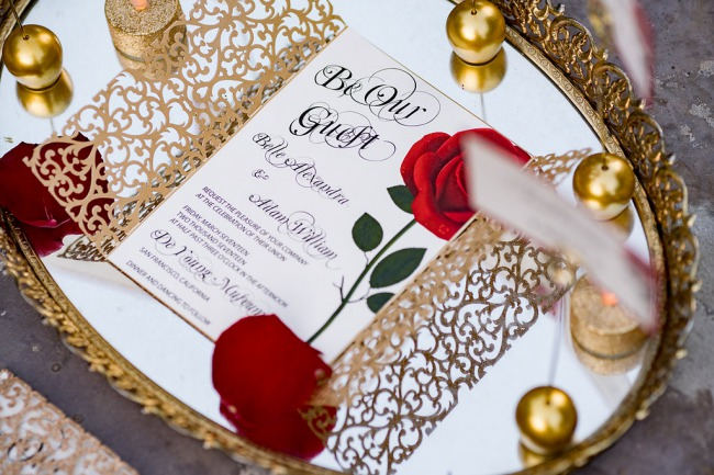 beauty and the beast inspired stationery