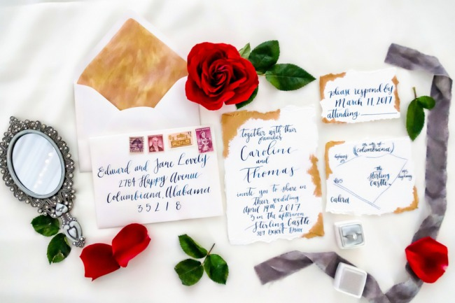 beauty and the beast stationery suite