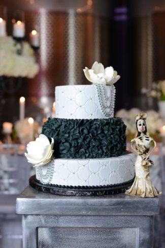 black and white Halloween wedding cake