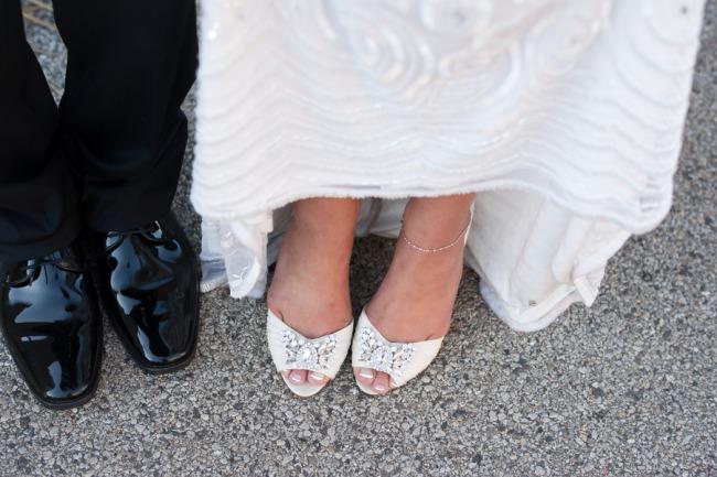 bride in Badgley Mischka open toe shoe