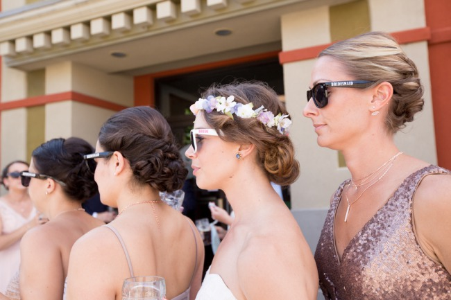 bridesmaids in custom sunglasses