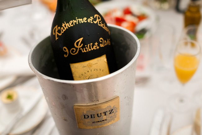 champagne on ice in bucket