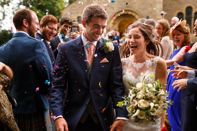 confetti as bride and groom walk out