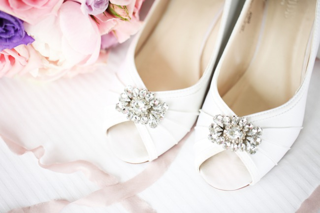 crystals on bridal heels