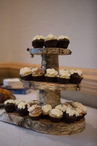 cupcakes on tier platter