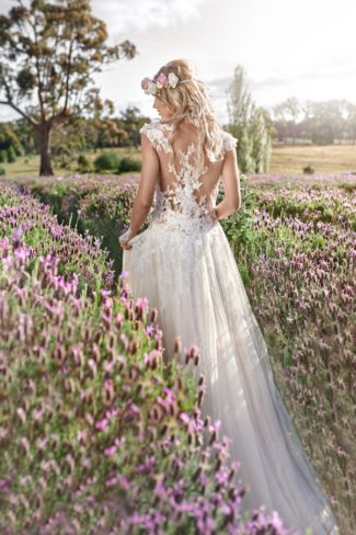 flower crown boho bride in lavender field