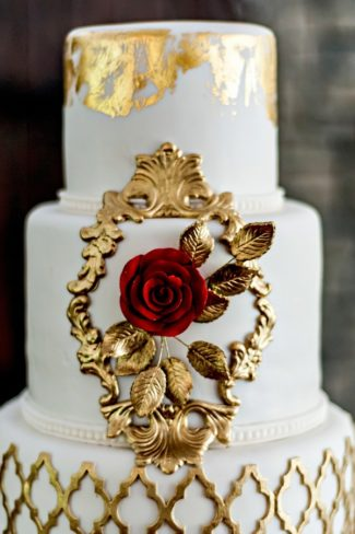 gold decorated cake
