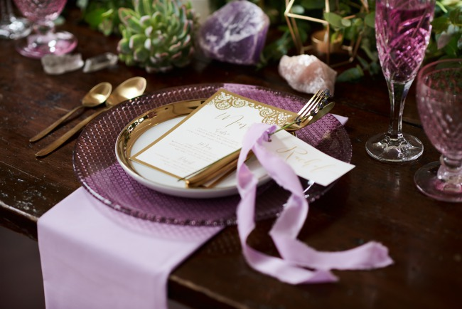 lavender color plate, glass, and napkin