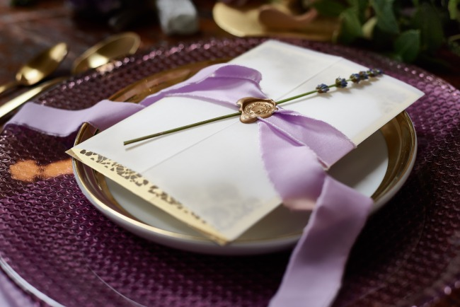 lavender sprig on stationery