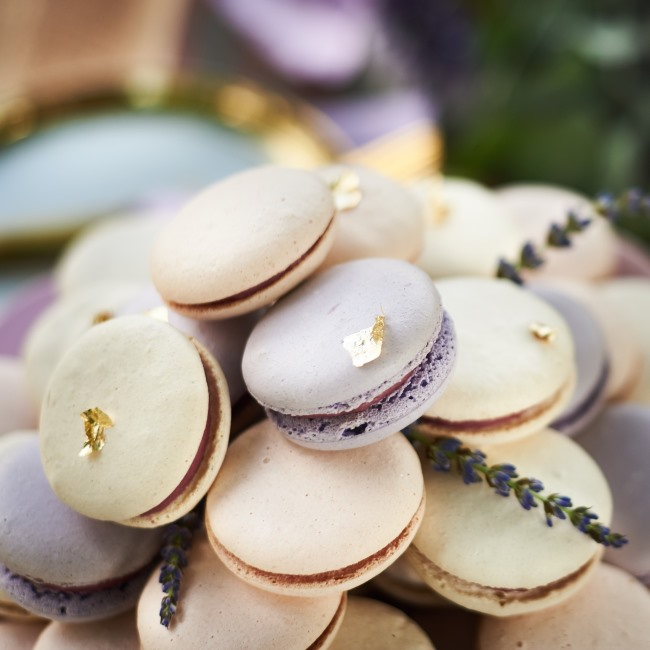 macaroons with gold foil