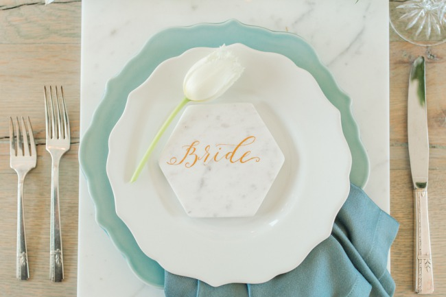 marble place card for bride