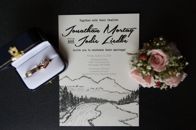 mountain ink design invite with rings