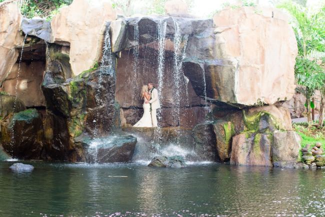 newlyweds at waterfall