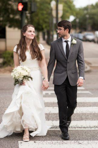 newlyweds cross street