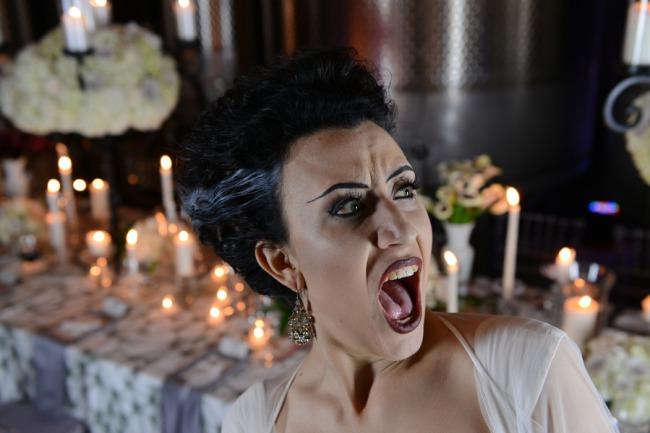 styled Bride of Frankenstein shreik