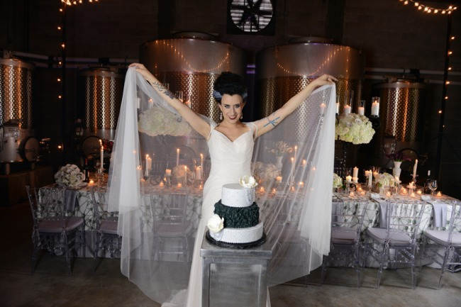 styled bride with veil cape