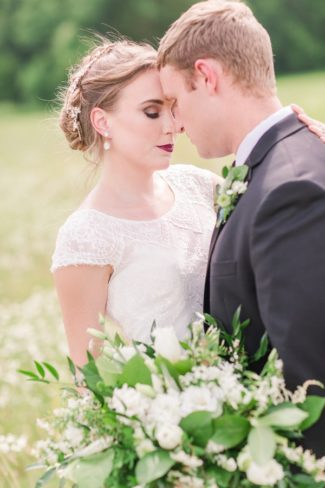 styled shoot couple in field