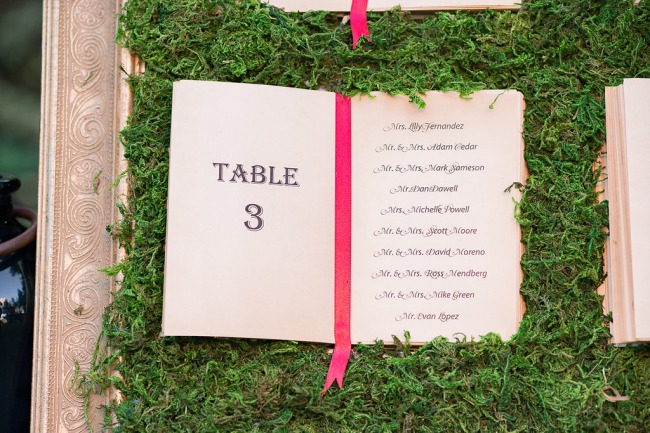 table seating chart on moss wall