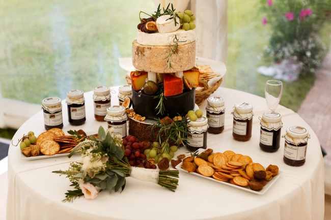 table with preserves and snacks