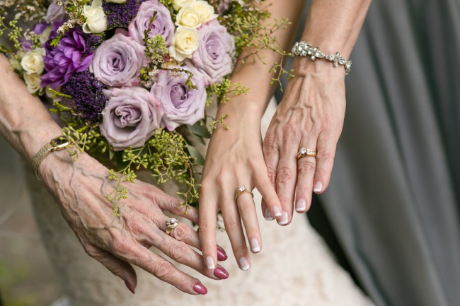 three generations of hands with rings