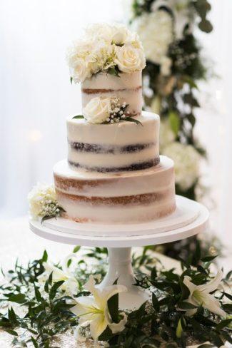 three tier cake on platter