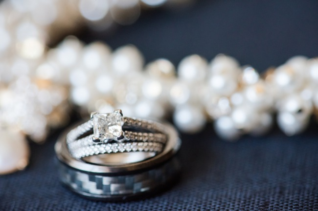 wedding bands and pearl strand