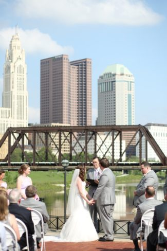 wedding ceremony with Columbus skyline