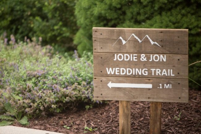 wedding trail wood sign