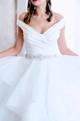 white dress with crystal sash