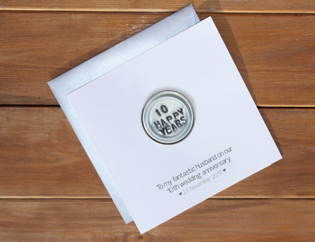 10th wedding anniversary card for him or her