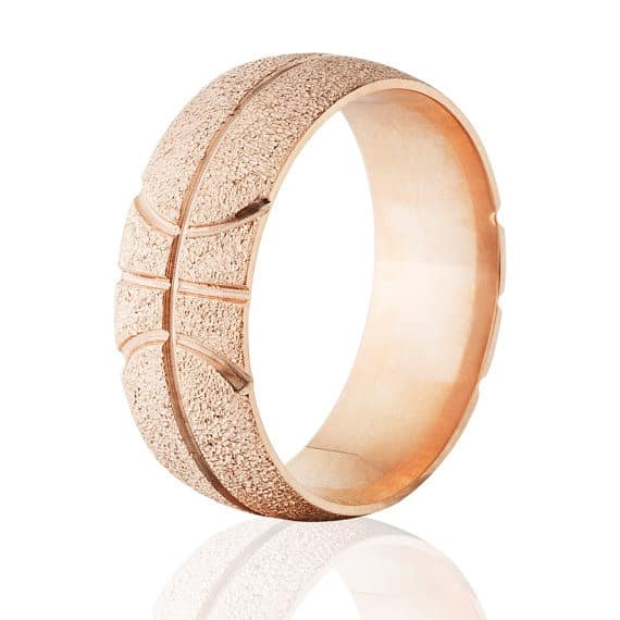 14k rose gold Basketball design ring