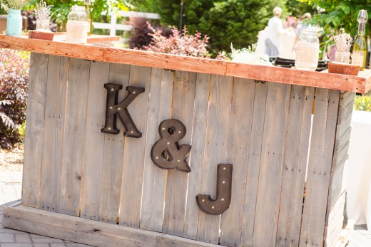 Bride and groom initals on a bar for decor