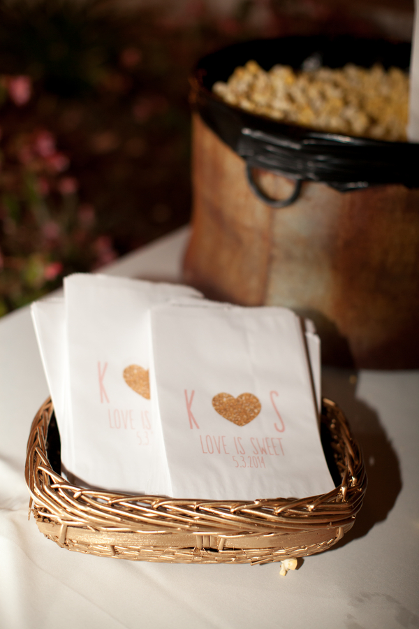 Bride and grooms initals on personalized pop corn favor bags