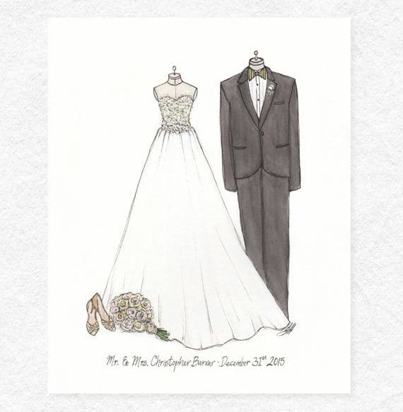 Custom Couple Wedding Illustration Portrait
