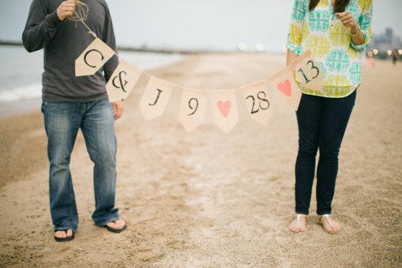 Custom Initials and Wedding Date Burlap Banner