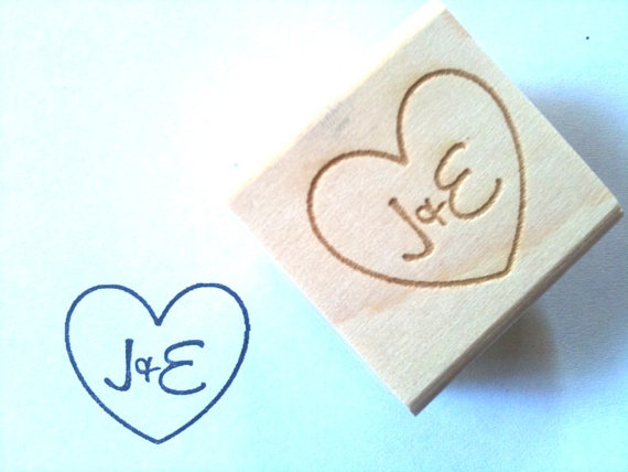 Custom Stamp with Heart & Initials for DIY Wedding Decor