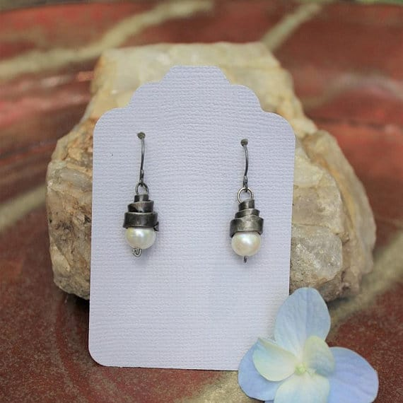 Forged Iron Freshwater Pearl Earrings 6th anniversary gift