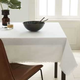 Frayed Edge White Cotton Tablecloth