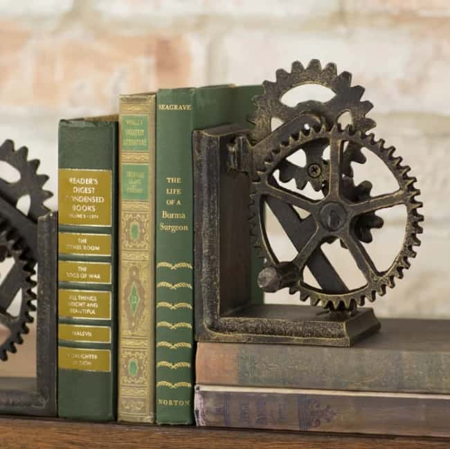Gear Sculptural Iron Book End for 6th anniversary gift for him