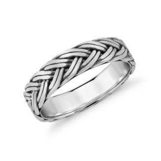 Hand braided men's wedding ring