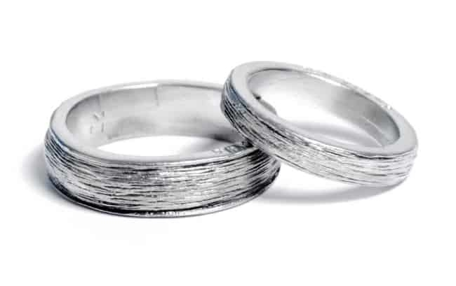 His and Her Tin Rings for 10th anniversary