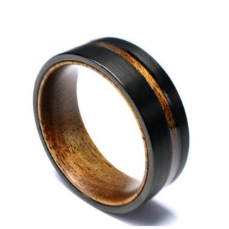 Koa wood black titanium wedding band